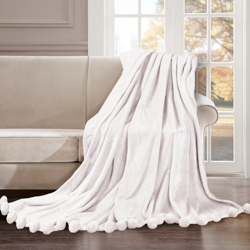 Fur blanket with pom-poms Love You Milk