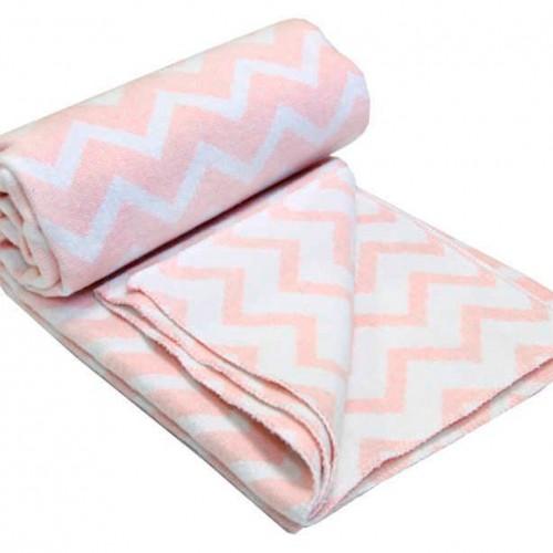 Plaid blanket for children Vladi Zig-zag 100x140 cm Pink Love You