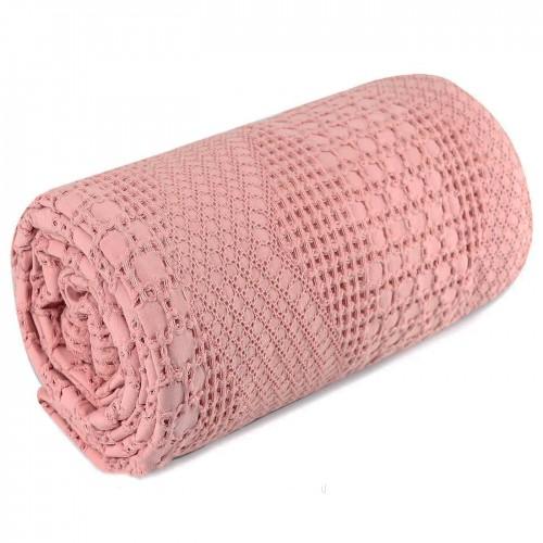 Вафельное простынь-покрывало Пике розовое HomeBrand