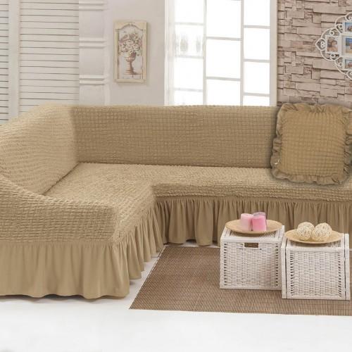 Чехлы: Диван угловой + декоративная подушка Песок 33 Love You