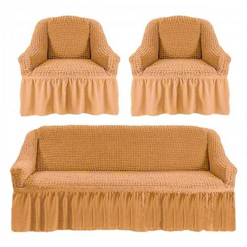 Чехлы: Диван + 2 кресла Бежевый 3 Love You