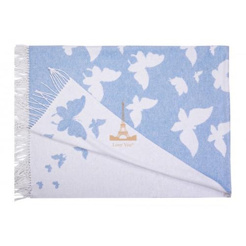 Плед хлопковый Бабочка голубой Love You