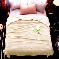 Plaid blanket strip cream HomeBrand