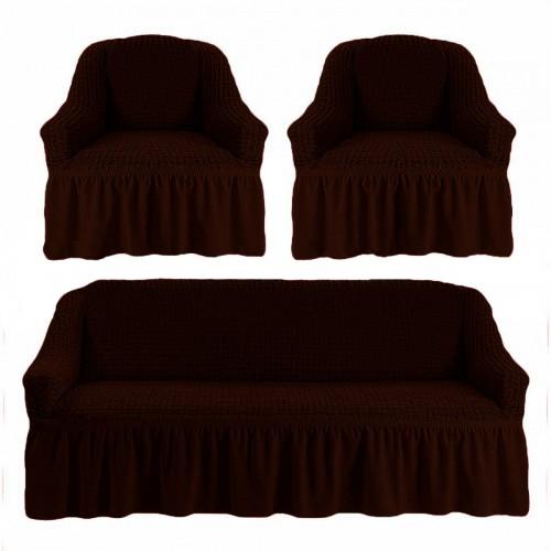 Чехлы: Диван + 2 кресла Черный шоколад 38 Love You