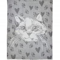 Plaid woolen cat gray Love You
