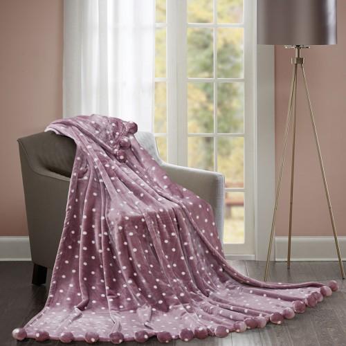Fur blanket with pompoms Balls Love You ROSE