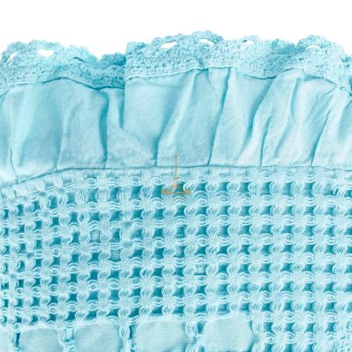 Вафельное простынь-покрывало с оборкой Пике морская-волна HomeBrand