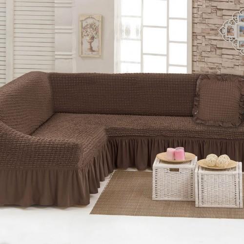Чехлы: Диван угловой + декоративная подушка Шоколад 9 Love You