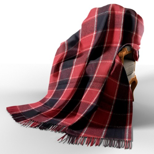 Palermo woolen plaid white-red-tsin. 7 love you