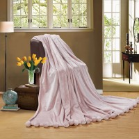Fur blanket with pompoms Love You Pink