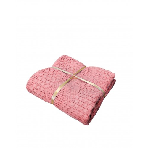 Waffle bedspread with frill Piqué pink HomeBrand