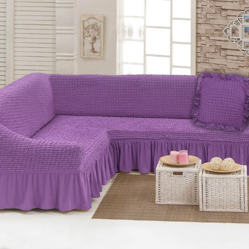 Чехлы: Диван угловой + декоративная подушка Лиловый 29 Love You