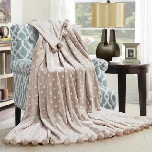Fur blanket with pom-poms Balls Love You beige