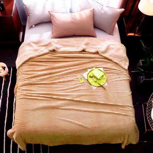Plaid blanket stripe beige HomeBrand